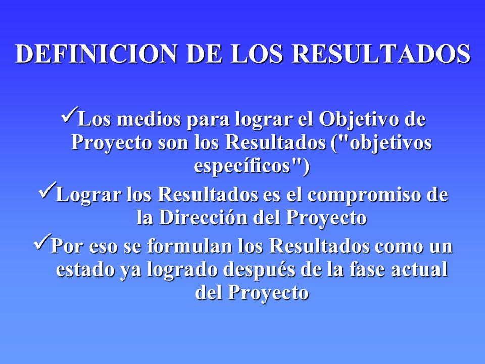 DEFINICION DE LOS RESULTADOS Los medios para lograr el Objetivo de Proyecto son los Resultados (