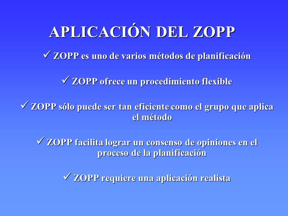 CARACTERISTICAS DEL ZOPP Procedimiento de planificación por pasos sucesivos Procedimiento de planificación por pasos sucesivos Visualización y documentación permanente de los pasos Visualización y documentación permanente de los pasos Enfoque de trabajar en equipo Enfoque de trabajar en equipo