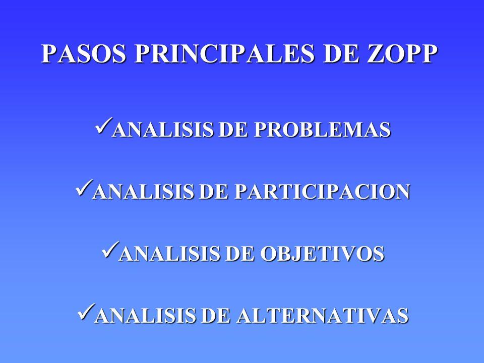 PASOS PRINCIPALES DE ZOPP ANALISIS DE PROBLEMAS ANALISIS DE PROBLEMAS ANALISIS DE PARTICIPACION ANALISIS DE PARTICIPACION ANALISIS DE OBJETIVOS ANALIS