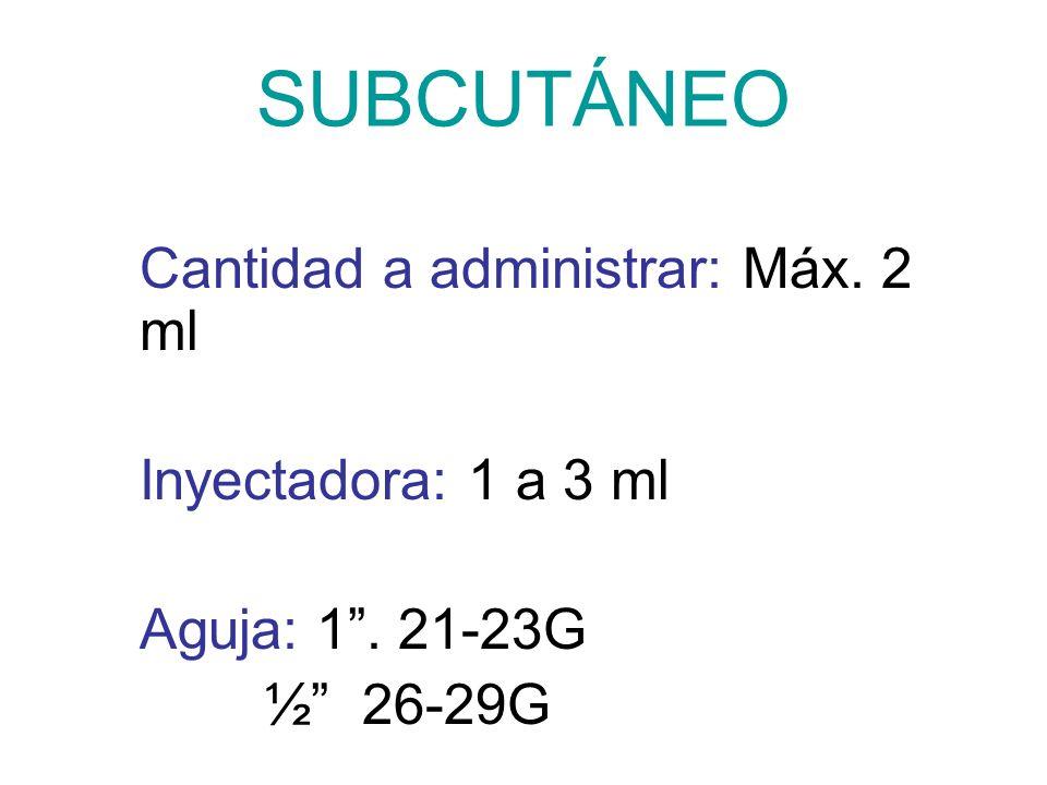 SUBCUTÁNEO Cantidad a administrar: Máx. 2 ml Inyectadora: 1 a 3 ml Aguja: 1. 21-23G ½ 26-29G