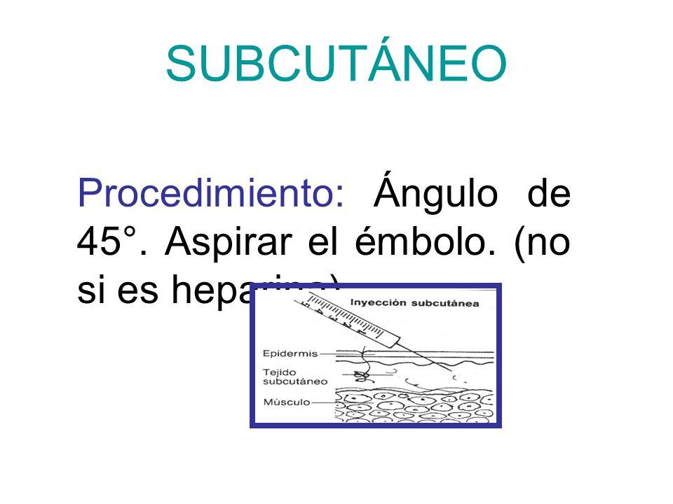 SUBCUTÁNEO Procedimiento: Ángulo de 45°. Aspirar el émbolo. (no si es heparina).