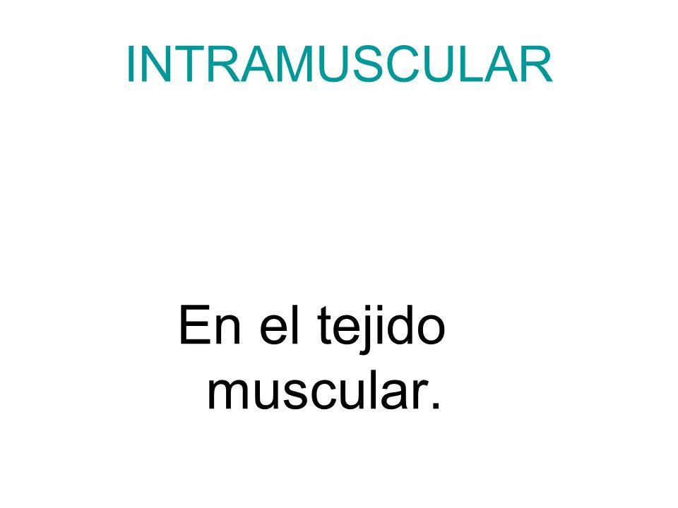 INTRAMUSCULAR En el tejido muscular.