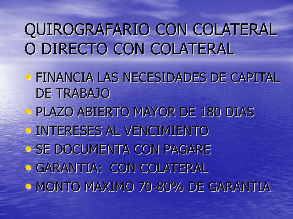 QUIROGRAFARIO CON COLATERAL O DIRECTO CON COLATERAL FINANCIA LAS NECESIDADES DE CAPITAL DE TRABAJO FINANCIA LAS NECESIDADES DE CAPITAL DE TRABAJO PLAZ