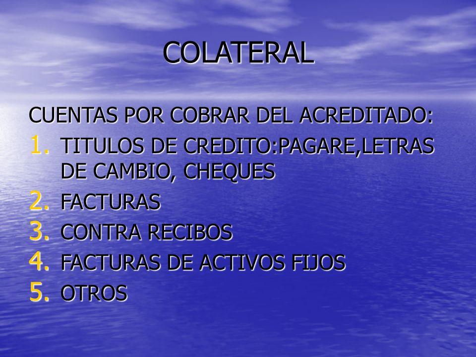 COLATERAL CUENTAS POR COBRAR DEL ACREDITADO: 1. TITULOS DE CREDITO:PAGARE,LETRAS DE CAMBIO, CHEQUES 2. FACTURAS 3. CONTRA RECIBOS 4. FACTURAS DE ACTIV