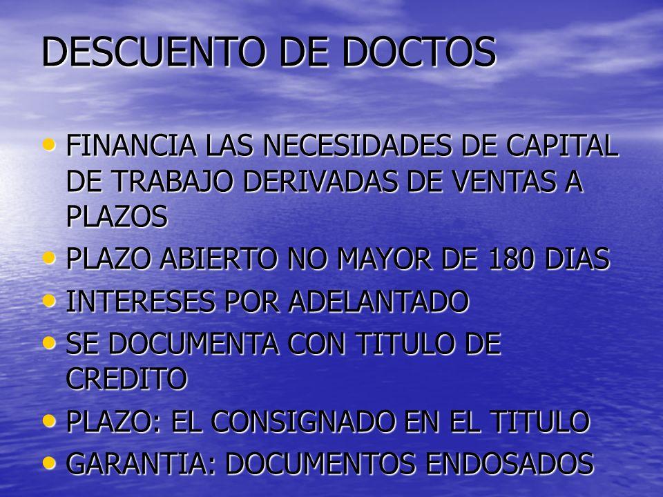 DESCUENTO DE DOCTOS FINANCIA LAS NECESIDADES DE CAPITAL DE TRABAJO DERIVADAS DE VENTAS A PLAZOS FINANCIA LAS NECESIDADES DE CAPITAL DE TRABAJO DERIVAD