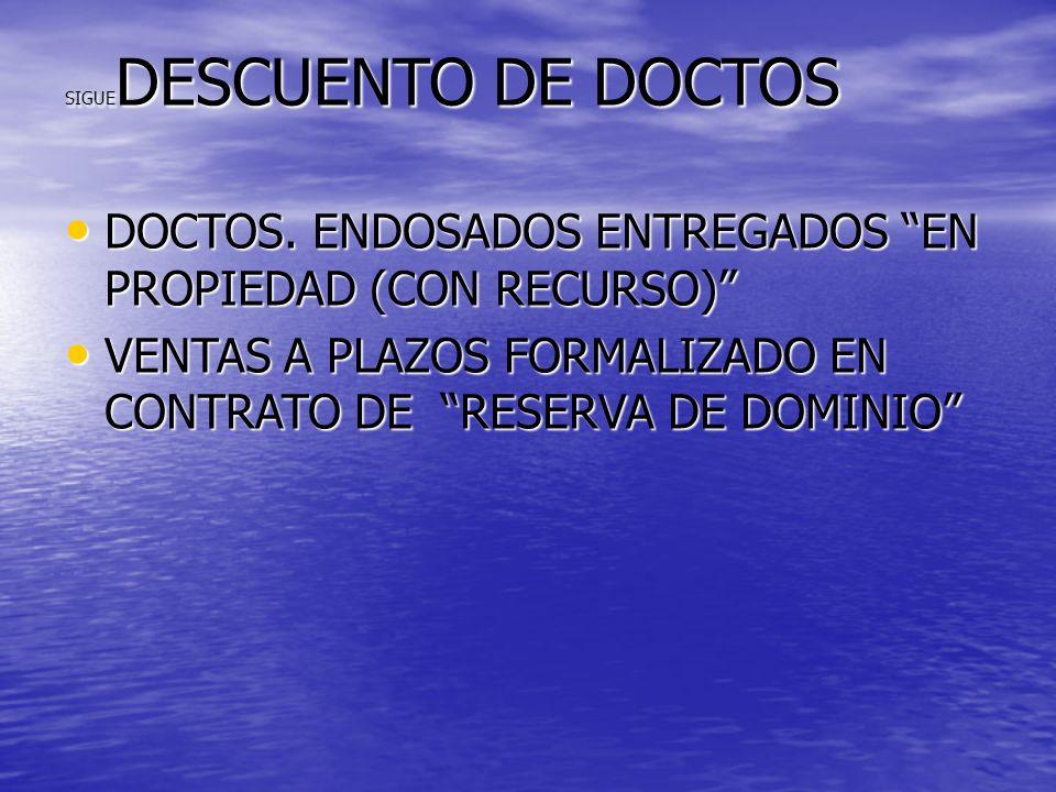 SIGUE DESCUENTO DE DOCTOS DOCTOS. ENDOSADOS ENTREGADOS EN PROPIEDAD (CON RECURSO) DOCTOS. ENDOSADOS ENTREGADOS EN PROPIEDAD (CON RECURSO) VENTAS A PLA