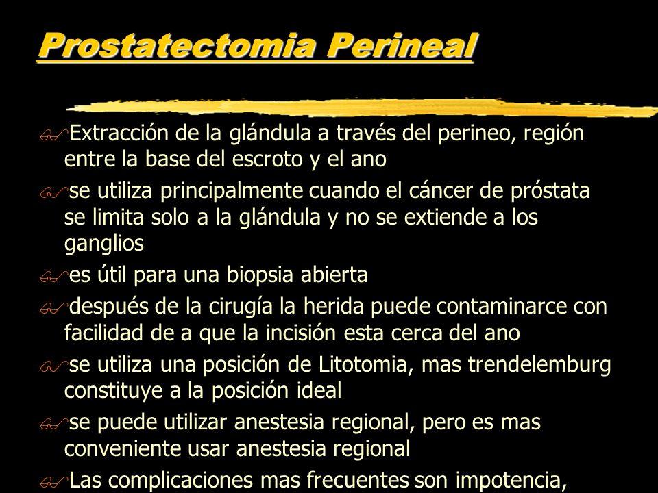 Prostatectomia Perineal $Extracción de la glándula a través del perineo, región entre la base del escroto y el ano $se utiliza principalmente cuando e