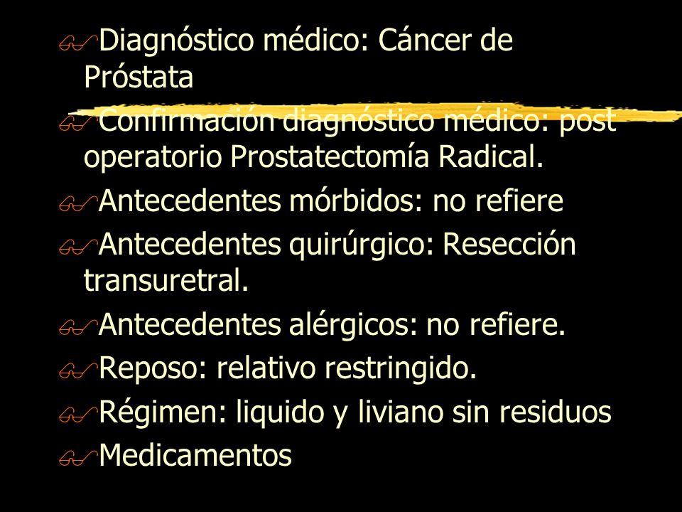 $Diagnóstico médico: Cáncer de Próstata $Confirmación diagnóstico médico: post operatorio Prostatectomía Radical. $Antecedentes mórbidos: no refiere $