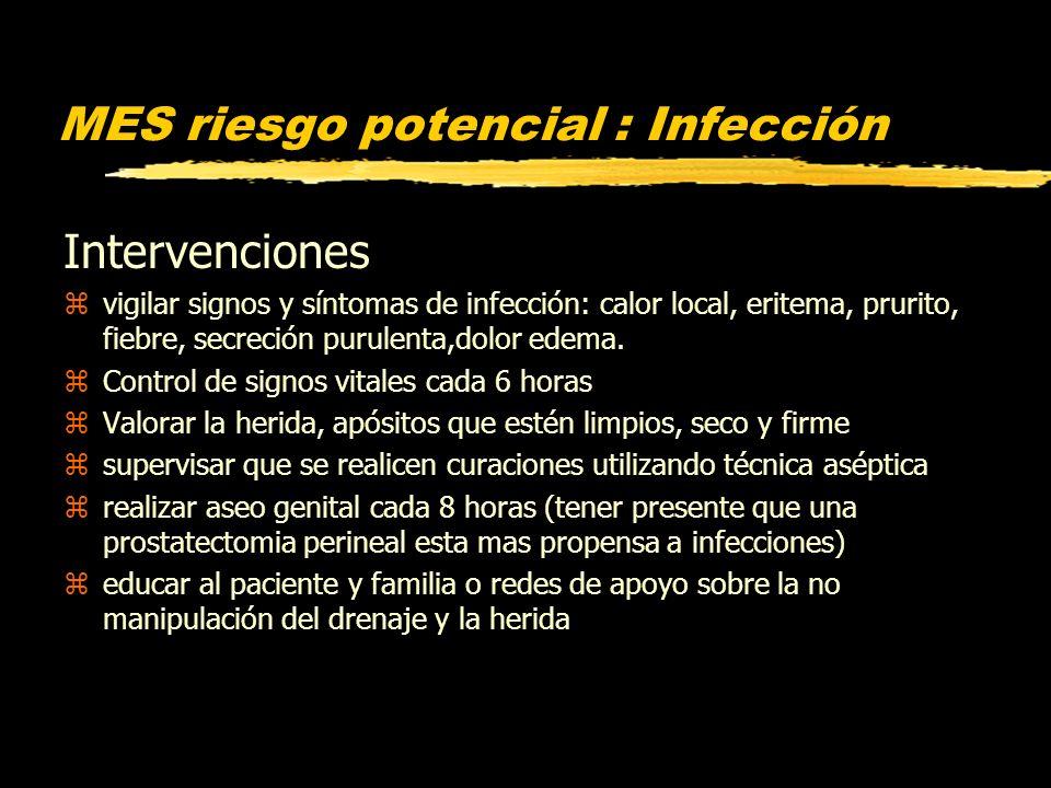 MES riesgo potencial : Infección Intervenciones zvigilar signos y síntomas de infección: calor local, eritema, prurito, fiebre, secreción purulenta,do