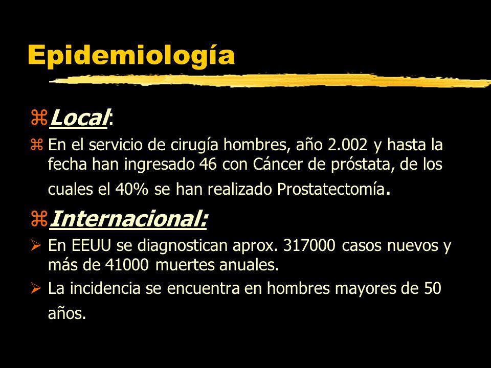 Epidemiología zLocal: zEn el servicio de cirugía hombres, año 2.002 y hasta la fecha han ingresado 46 con Cáncer de próstata, de los cuales el 40% se