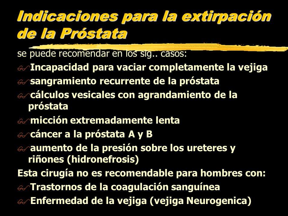 Indicaciones para la extirpación de la Próstata se puede recomendar en los sig.. casos: $Incapacidad para vaciar completamente la vejiga $sangramiento