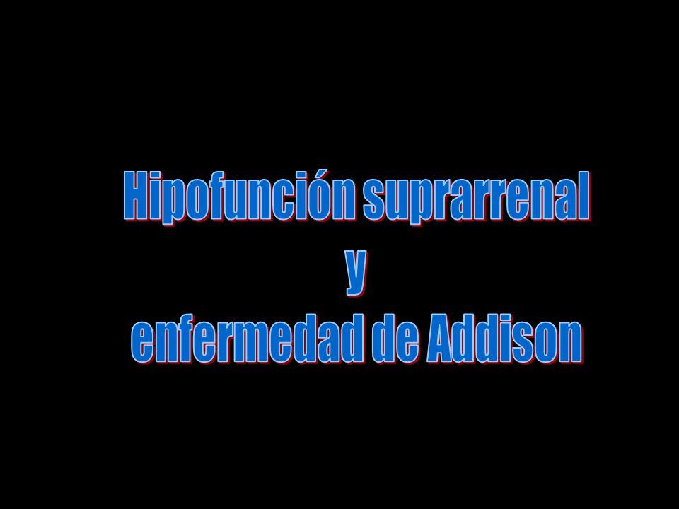atrofia primaria La enfermedad de Addison se debe al fracaso de la corteza suprarrenal para fabricar las hormonas corticales; a su vez, la causa obedece, en un elevado número de casos, a una atrofia primaria de la corteza suprarrenal.