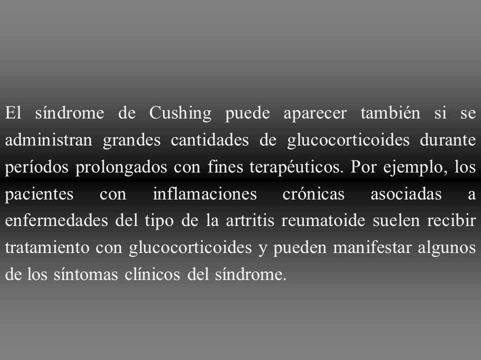 Un rasgo característico del síndrome de Cushing es la movilización de la grasa de la parte inferior del cuerpo y el depósito simultáneo de la misma en las regiones torácica y superior del abdomen, lo que otorga al torso un aspecto de búfalo.