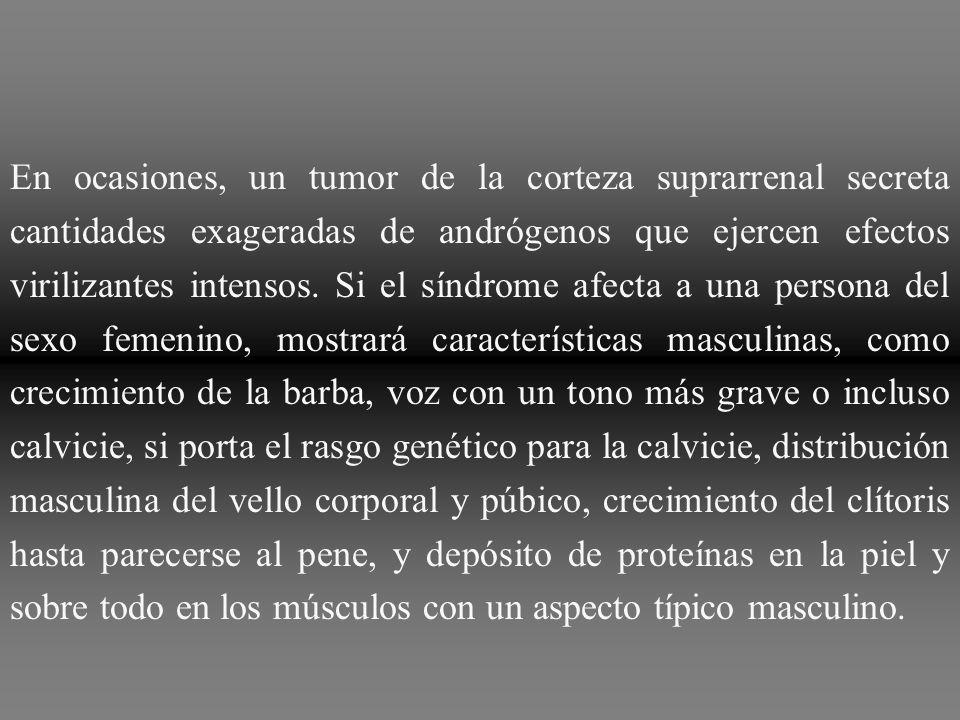 Los tumores suprarrenales virilizantes tienen el mismo efecto sobre los varones prepúberes que sobre el sexo femenino, aunque aceleran el crecimiento de los órganos sexuales masculinos, como ilustra la Figura 77 9 de un niño de 4 años con síndrome adrenogenital.