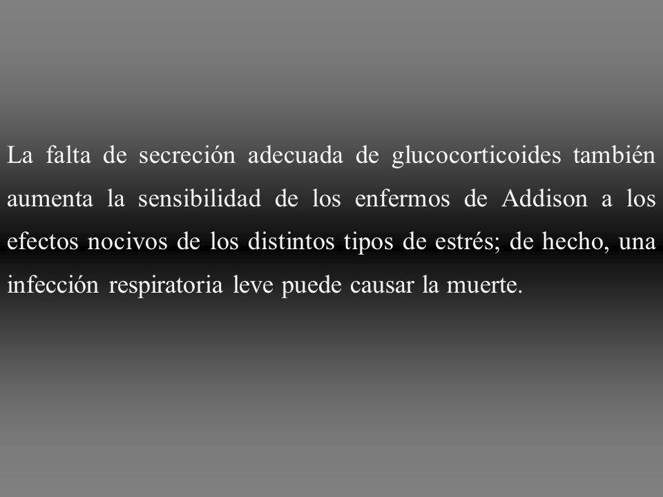 La falta de secreción adecuada de glucocorticoides también aumenta la sensibilidad de los enfermos de Addison a los efectos nocivos de los distintos t