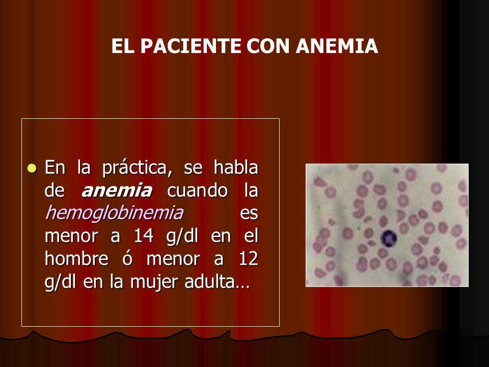 EL PACIENTE CON ANEMIA En la práctica, se habla de anemia cuando la hemoglobinemia es menor a 14 g/dl en el hombre ó menor a 12 g/dl en la mujer adult
