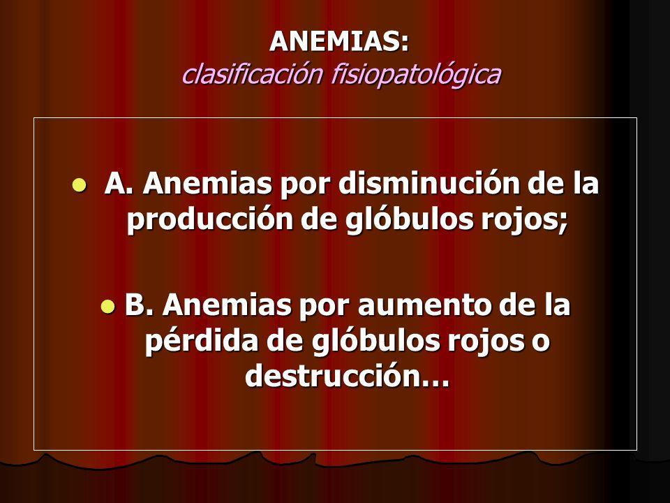 ANEMIAS: clasificación fisiopatológica A. Anemias por disminución de la producción de glóbulos rojos; A. Anemias por disminución de la producción de g
