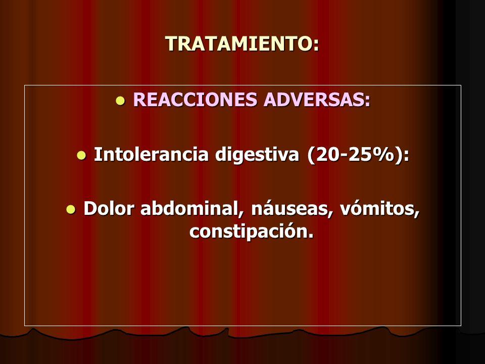 TRATAMIENTO: REACCIONES ADVERSAS: REACCIONES ADVERSAS: Intolerancia digestiva (20-25%): Intolerancia digestiva (20-25%): Dolor abdominal, náuseas, vóm