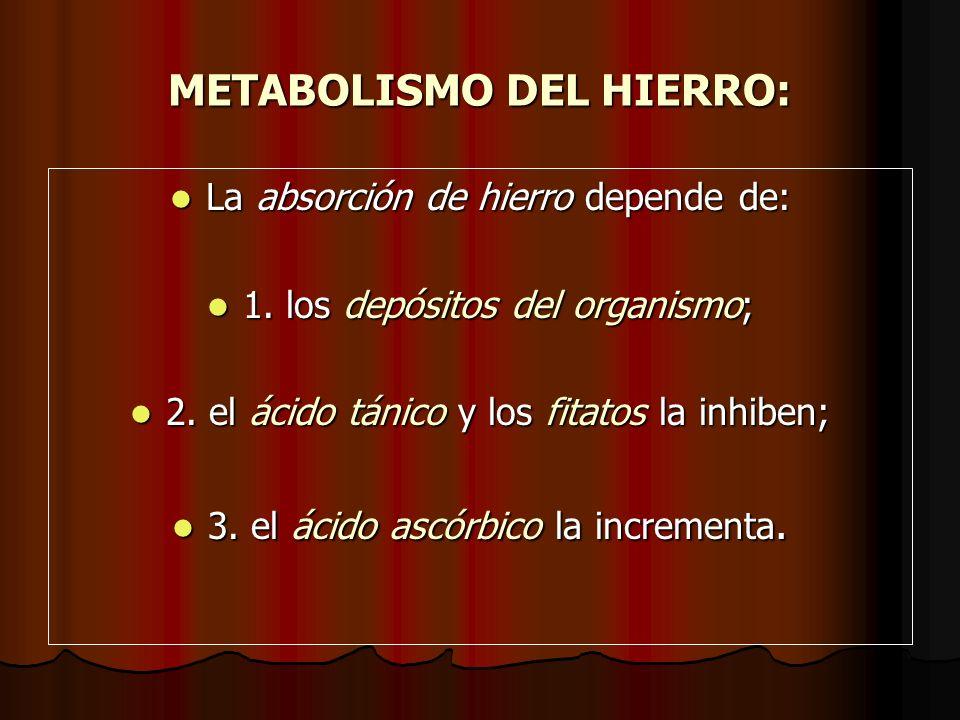 METABOLISMO DEL HIERRO: La absorción de hierro depende de: La absorción de hierro depende de: 1. los depósitos del organismo; 1. los depósitos del org