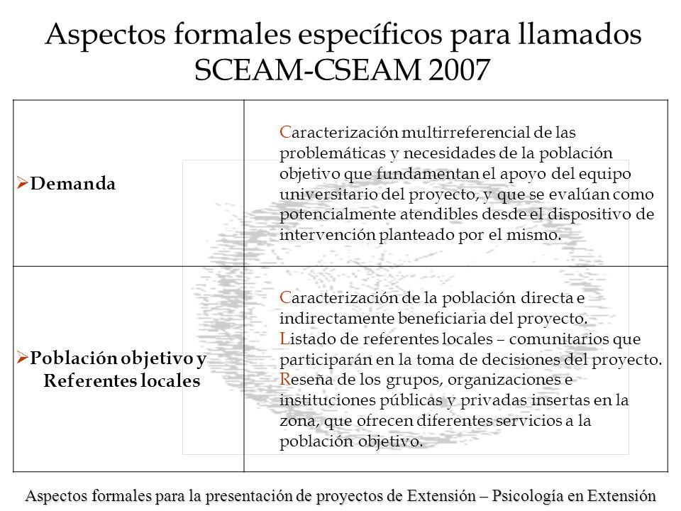Aspectos formales para la presentación de proyectos de Extensión – Psicología en Extensión Aspectos formales específicos para llamados SCEAM-CSEAM 2007 Delimitación geográfica Encuadre y caracterización territorial del proyecto.