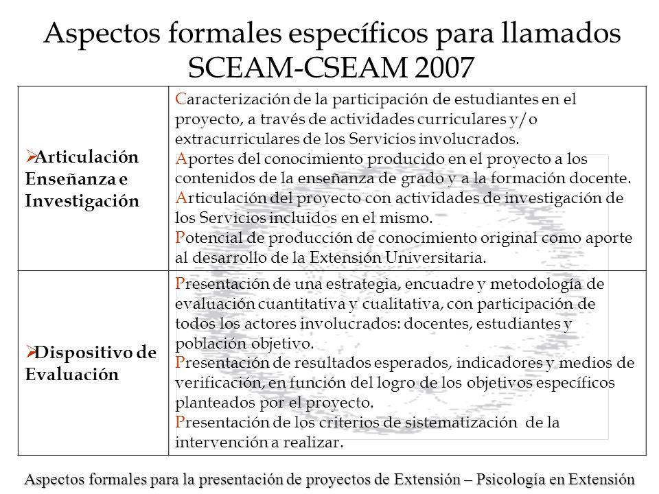 Detalles a tener en cuenta: Coherencia interna y viabilidad de la propuesta Aspectos formales para la presentación de proyectos de Extensión – Psicología en Extensión Aspectos formales específicos para llamados SCEAM-CSEAM 2007 Solicitud de financiación Detalle de la solicitud financiera en sueldos y gastos