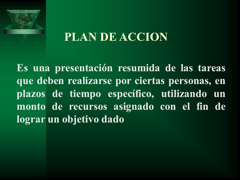 PLAN DE ACCION Es una presentación resumida de las tareas que deben realizarse por ciertas personas, en plazos de tiempo específico, utilizando un mon