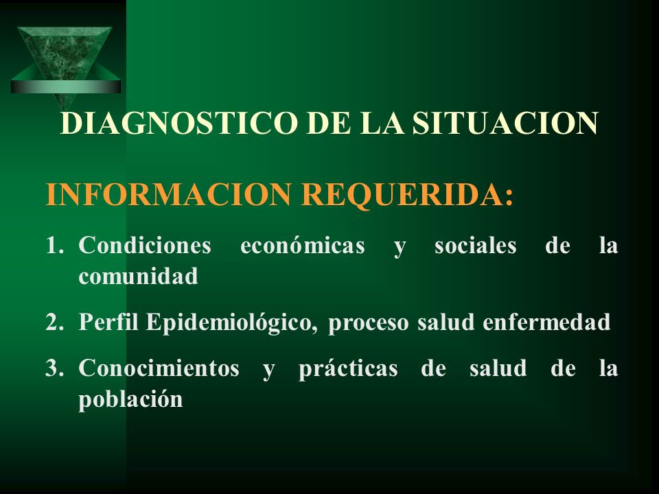 DIAGNOSTICO DE LA SITUACION INFORMACION REQUERIDA: 1.Condiciones económicas y sociales de la comunidad 2.Perfil Epidemiológico, proceso salud enfermed