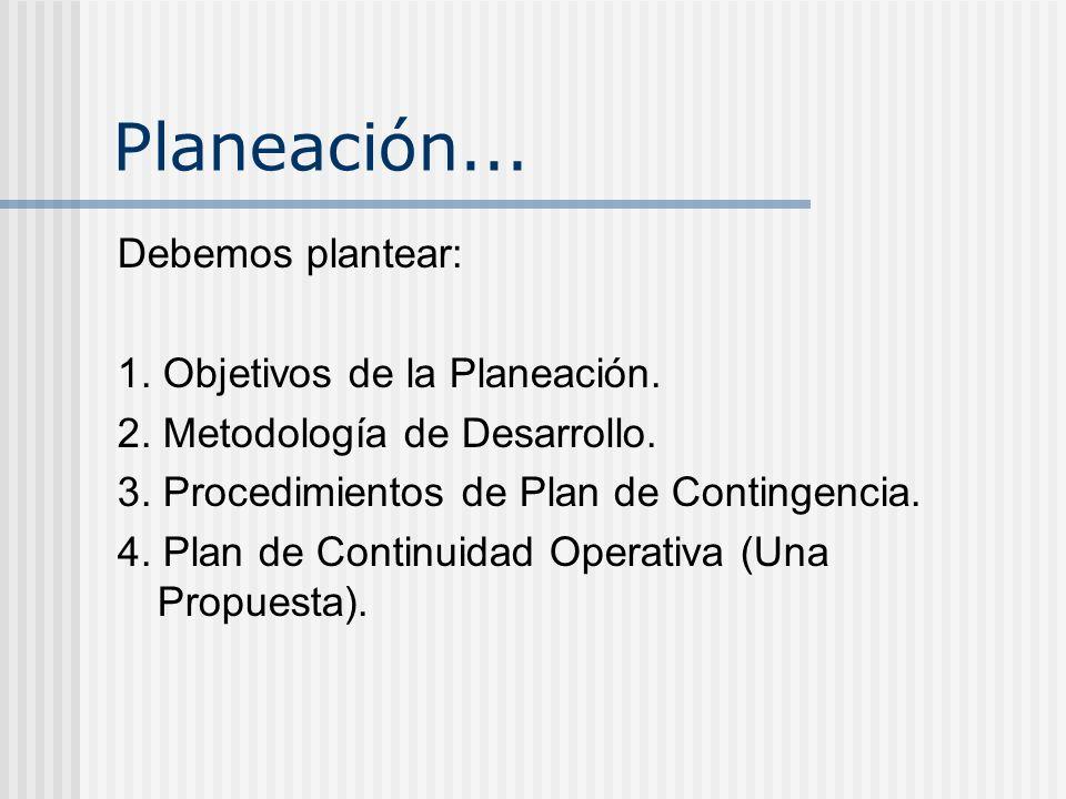Planeación... Debemos plantear: 1. Objetivos de la Planeación. 2. Metodología de Desarrollo. 3. Procedimientos de Plan de Contingencia. 4. Plan de Con
