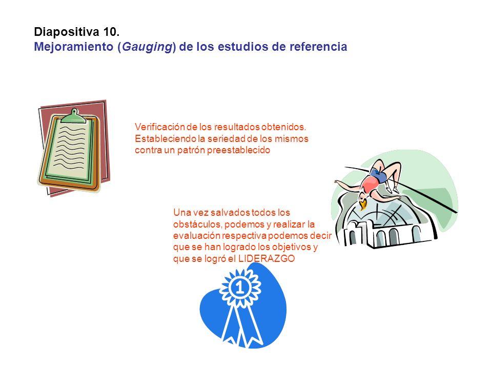 Diapositiva 10. Mejoramiento (Gauging) de los estudios de referencia Verificación de los resultados obtenidos. Estableciendo la seriedad de los mismos