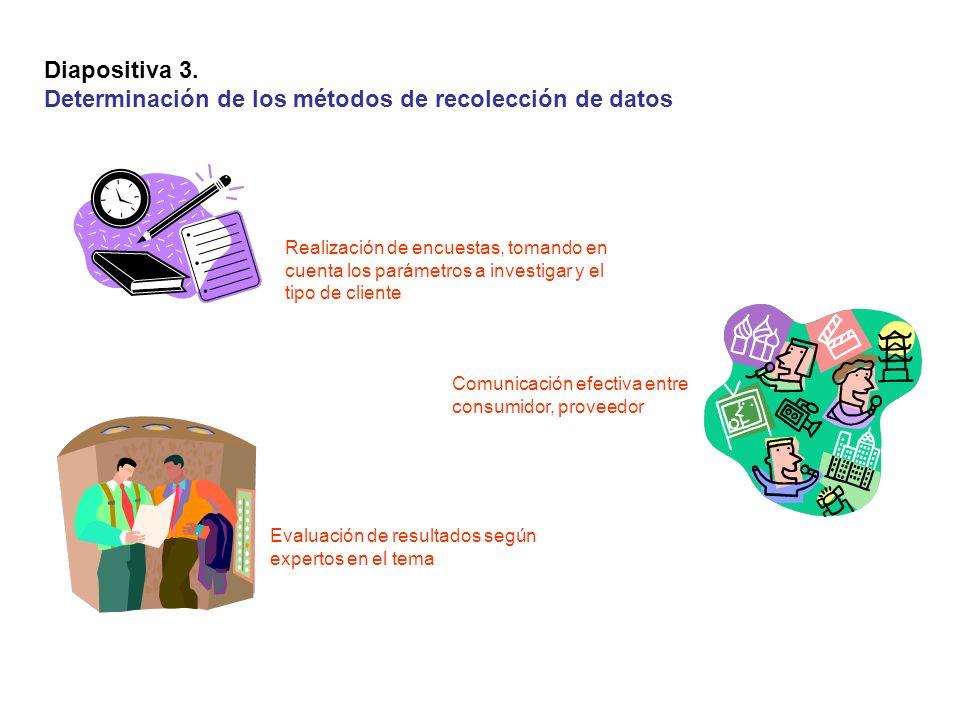 Diapositiva 3. Determinación de los métodos de recolección de datos Evaluación de resultados según expertos en el tema Realización de encuestas, toman