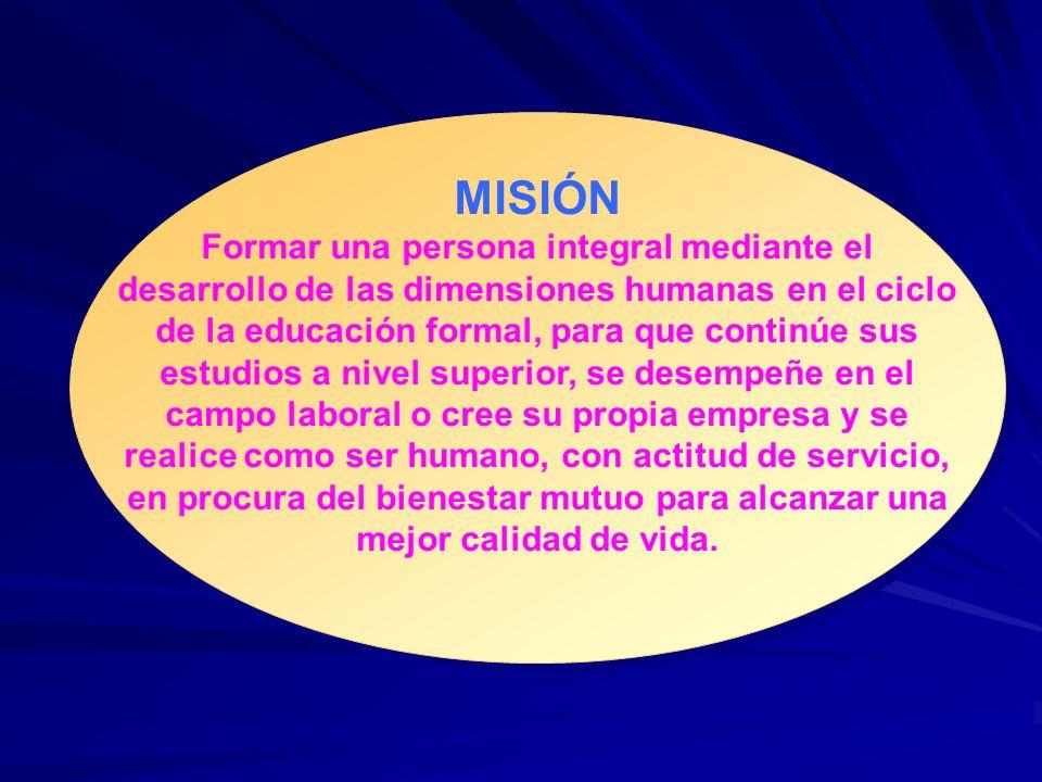 MISIÓN Formar una persona integral mediante el desarrollo de las dimensiones humanas en el ciclo de la educación formal, para que continúe sus estudio