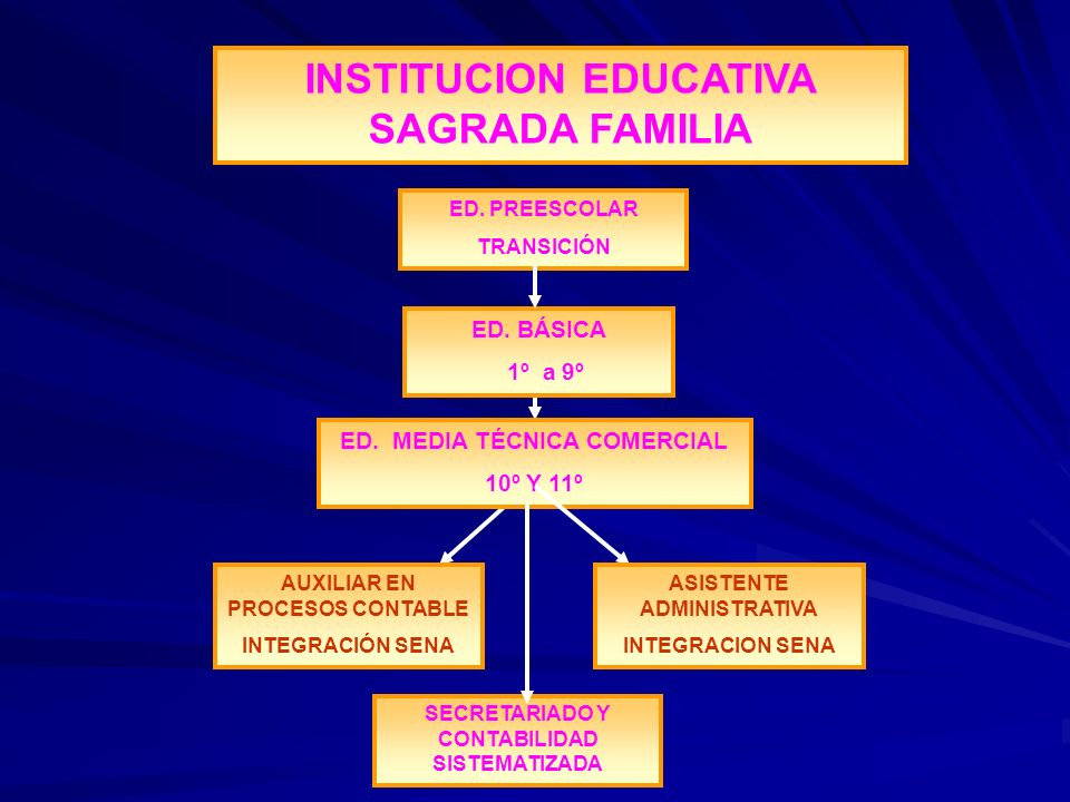 ED. BÁSICA 1º a 9º ED. MEDIA TÉCNICA COMERCIAL 10º Y 11º AUXILIAR EN PROCESOS CONTABLE INTEGRACIÓN SENA ASISTENTE ADMINISTRATIVA INTEGRACION SENA INST