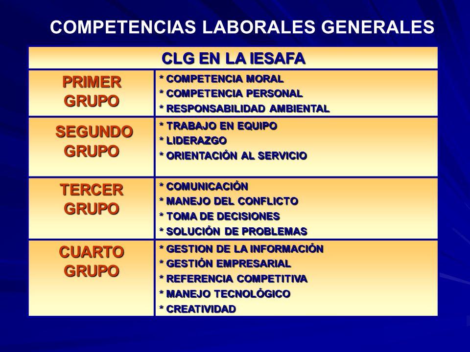COMPETENCIAS LABORALES GENERALES CLG EN LA IESAFA PRIMER GRUPO * COMPETENCIA MORAL * COMPETENCIA PERSONAL * RESPONSABILIDAD AMBIENTAL SEGUNDO GRUPO SE