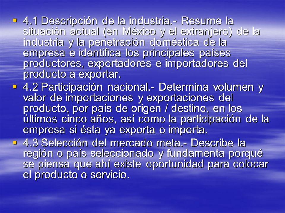 4.1Descripción de la industria.- Resume la situación actual (en México y el extranjero) de la industria y la penetración doméstica de la empresa e ide