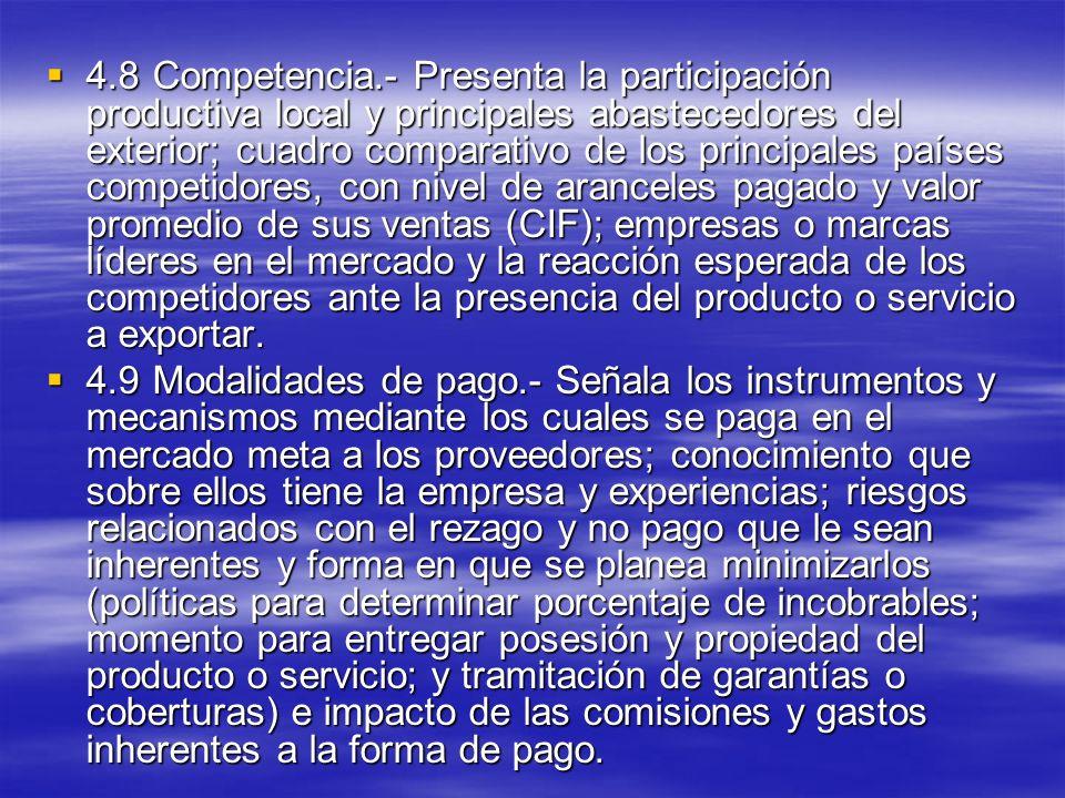 4.8Competencia.- Presenta la participación productiva local y principales abastecedores del exterior; cuadro comparativo de los principales países com