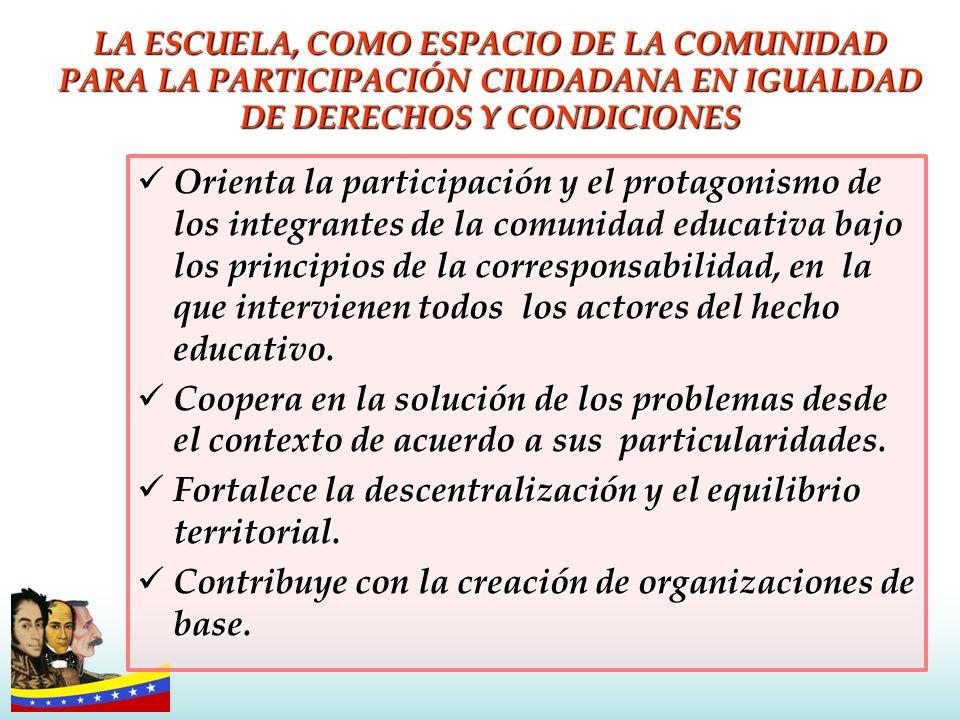 LA ESCUELA, COMO ESPACIO DE LA COMUNIDAD PARA LA PARTICIPACIÓN CIUDADANA EN IGUALDAD DE DERECHOS Y CONDICIONES participaciónprotagonismo principios de