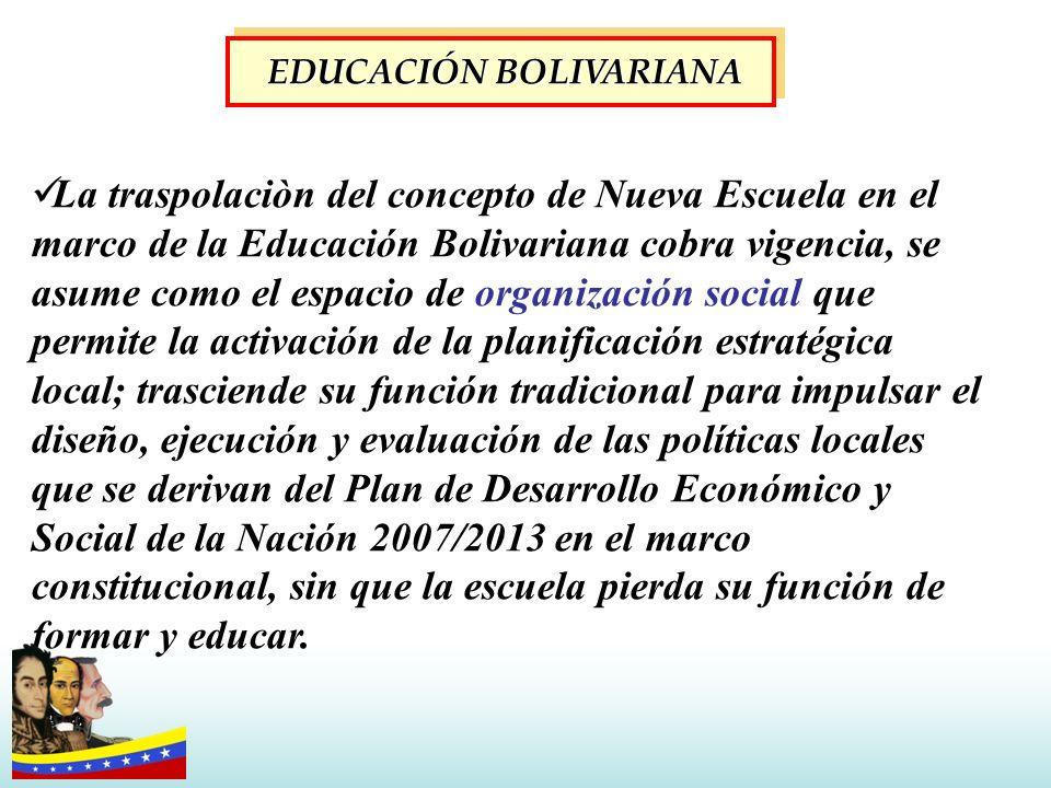 La traspolaciòn del concepto de Nueva Escuela en el marco de la Educación Bolivariana cobra vigencia, se asume como el espacio de organización social