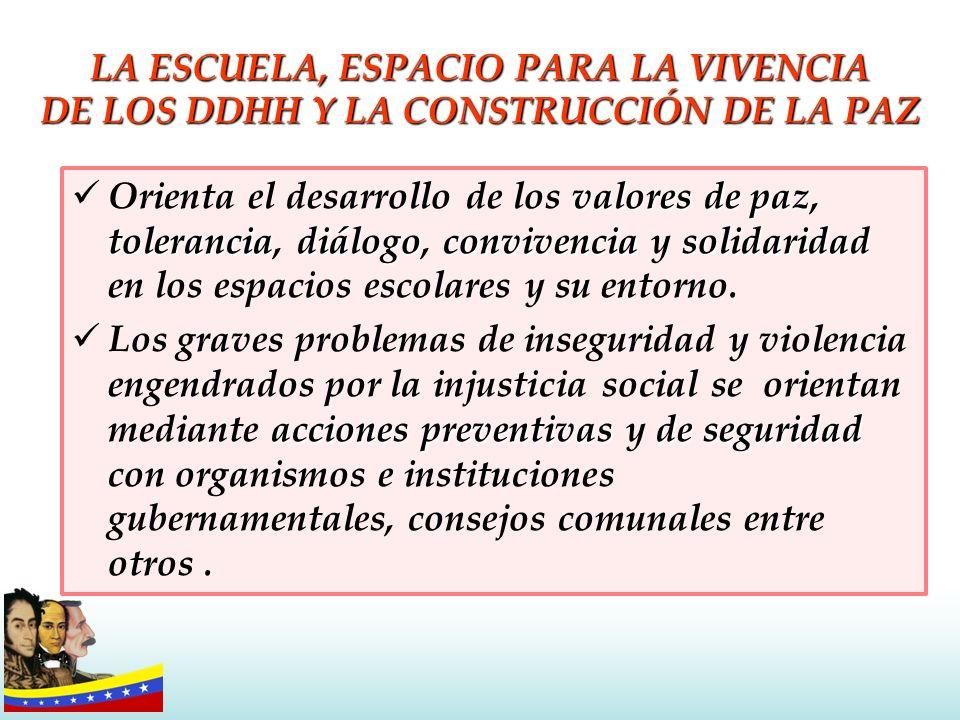 LA ESCUELA, ESPACIO PARA LA VIVENCIA DE LOS DDHH Y LA CONSTRUCCIÓN DE LA PAZ valores de paz toleranciadiálogoconvivenciasolidaridad Orienta el desarro