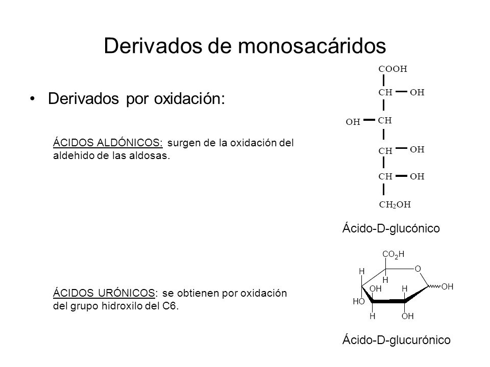Derivados de monosacáridos Derivados por oxidación: Ácido-D-glucónico Ácido-D-glucurónico ÁCIDOS ALDÓNICOS: surgen de la oxidación del aldehido de las