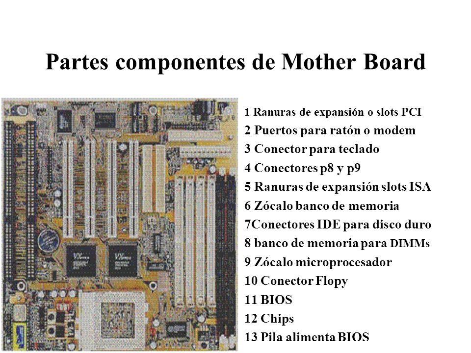 Partes componentes de Mother Board 1 Ranuras de expansión o slots PCI 2 Puertos para ratón o modem 3 Conector para teclado 4 Conectores p8 y p9 5 Ranu