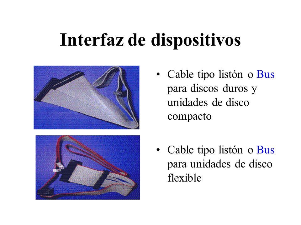 Interfaz de dispositivos Cable tipo listón o Bus para discos duros y unidades de disco compacto Cable tipo listón o Bus para unidades de disco flexibl