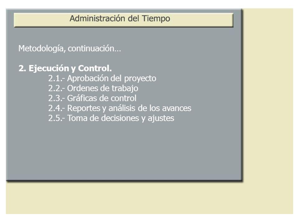 Metodología, continuación… 2. Ejecución y Control. 2.1.- Aprobación del proyecto 2.2.- Ordenes de trabajo 2.3.- Gráficas de control 2.4.- Reportes y a