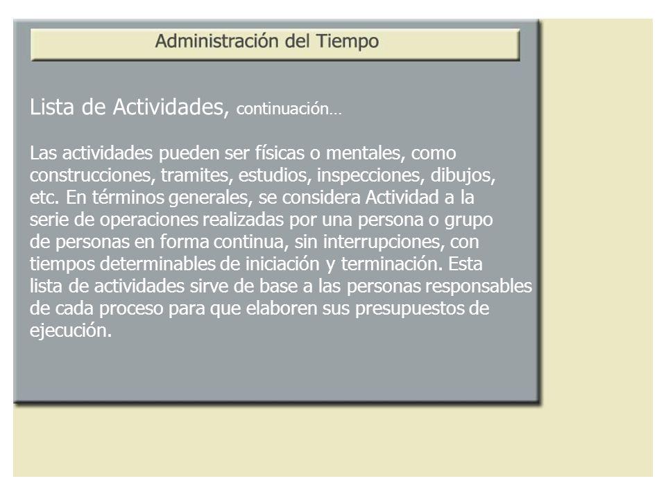 Lista de Actividades, continuación… Las actividades pueden ser físicas o mentales, como construcciones, tramites, estudios, inspecciones, dibujos, etc