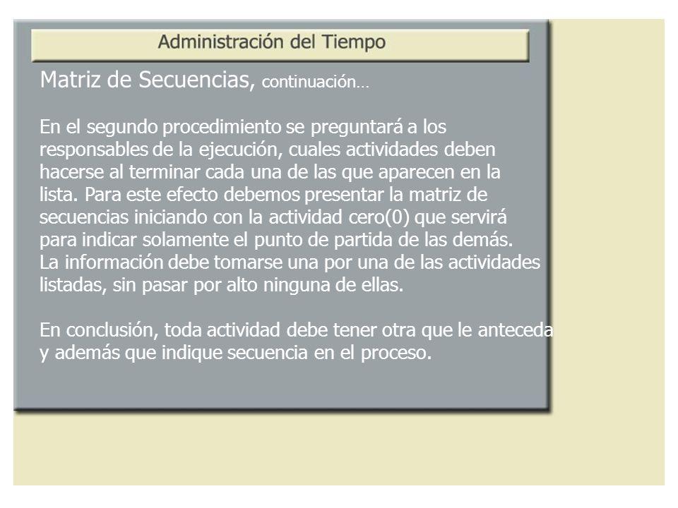 Matriz de Secuencias, continuación… En el segundo procedimiento se preguntará a los responsables de la ejecución, cuales actividades deben hacerse al