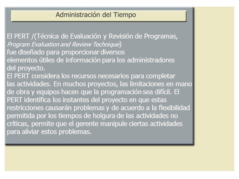 El PERT /(Técnica de Evaluación y Revisión de Programas, Program Evaluation and Review Technique ) fue diseñado para proporcionar diversos elementos ú