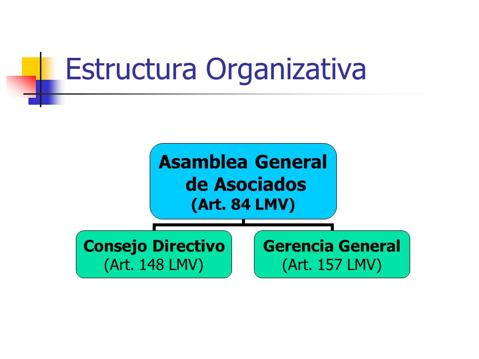 Estructura Organizativa Asamblea General de Asociados (Art. 84 LMV) Consejo Directivo (Art. 148 LMV) Gerencia General (Art. 157 LMV)