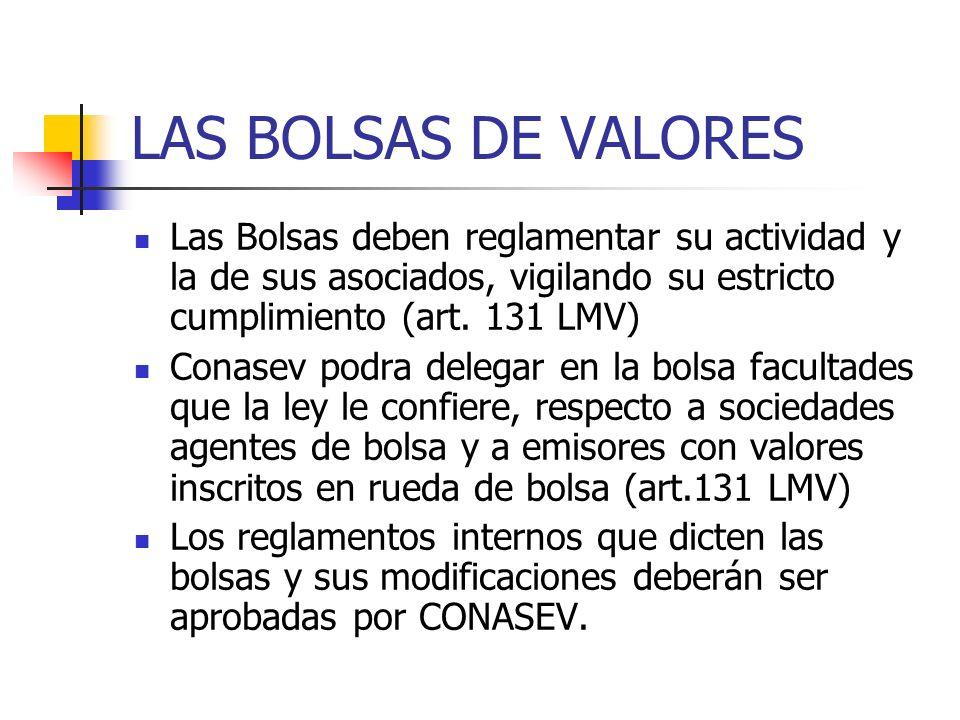 LAS BOLSAS DE VALORES Las Bolsas deben reglamentar su actividad y la de sus asociados, vigilando su estricto cumplimiento (art. 131 LMV) Conasev podra