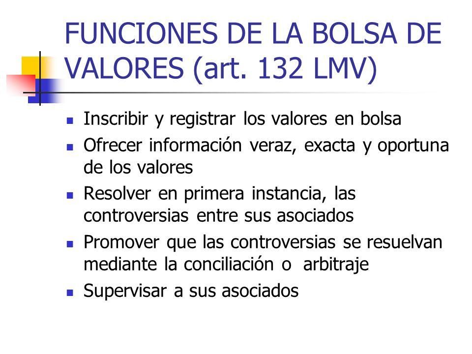 FUNCIONES DE LA BOLSA DE VALORES (art. 132 LMV) Inscribir y registrar los valores en bolsa Ofrecer información veraz, exacta y oportuna de los valores
