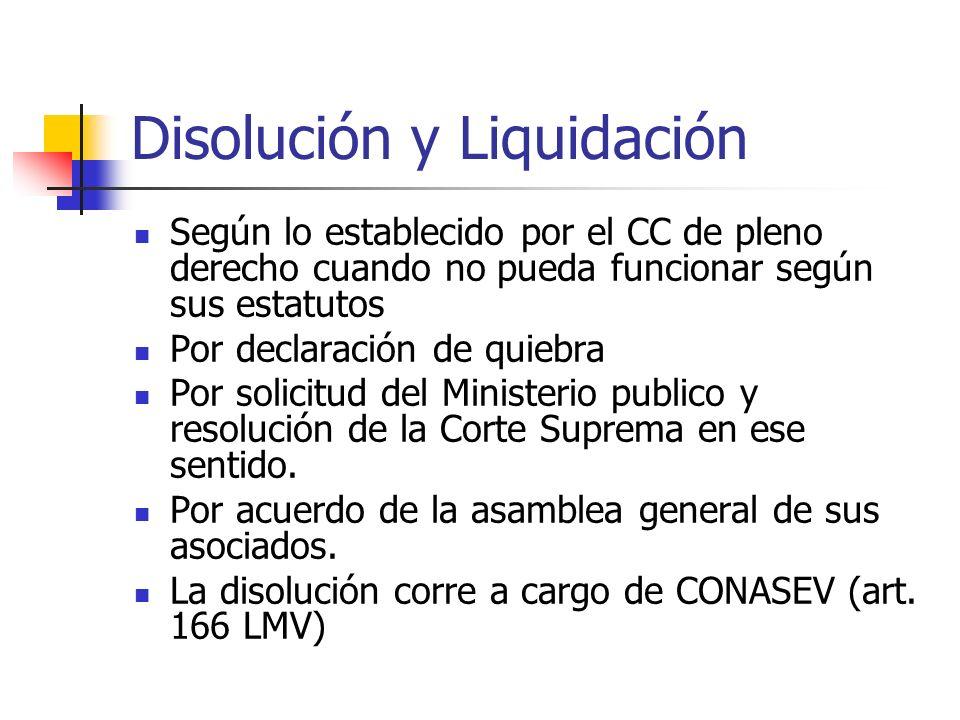 Disolución y Liquidación Según lo establecido por el CC de pleno derecho cuando no pueda funcionar según sus estatutos Por declaración de quiebra Por
