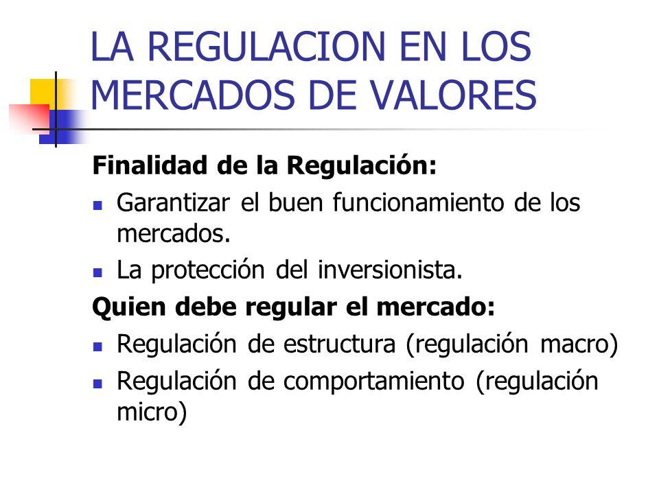 LA REGULACION EN LOS MERCADOS DE VALORES Finalidad de la Regulación: Garantizar el buen funcionamiento de los mercados. La protección del inversionist